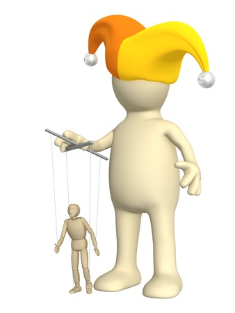 managing: 3d puppet-clown, managing a small doll - puppet. Objects over white