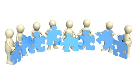3d puppets, holding in hands a puzzles  Stock Photo