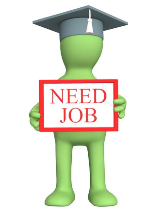 business survival: 3d puppet - student, looking for job Stock Photo