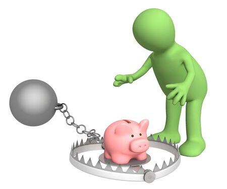Piggy bank - bait in a trap Stock Photo - 4418474