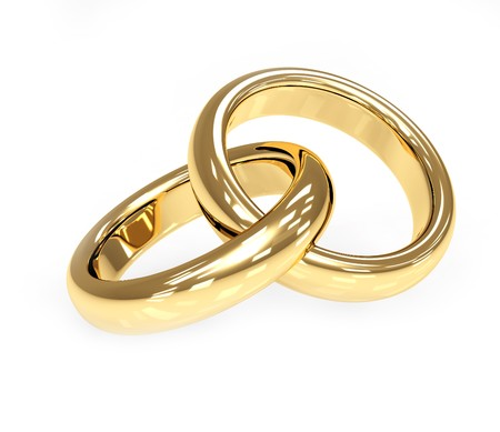 2 objects: Two 3d gold wedding ring. Objects over white