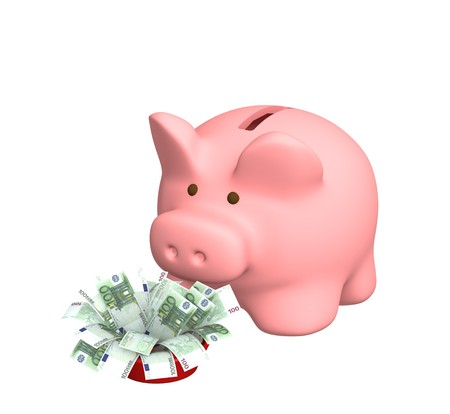dividend: Piggy bank with a pack of euro banknotes Stock Photo