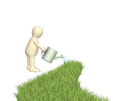 harmless: 3d puppet watering a grass road