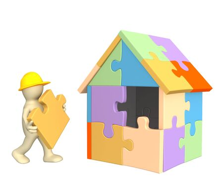 3d working puppet building the house . Object over white photo