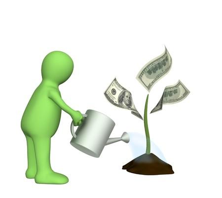 Puppet, watering monetary plant photo