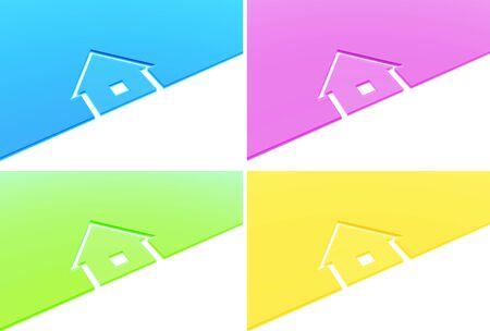construction logo: House - set from four color logo