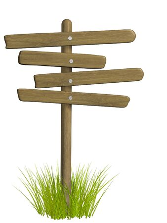 plant stand: Wooden signboard from four boards. Object over white