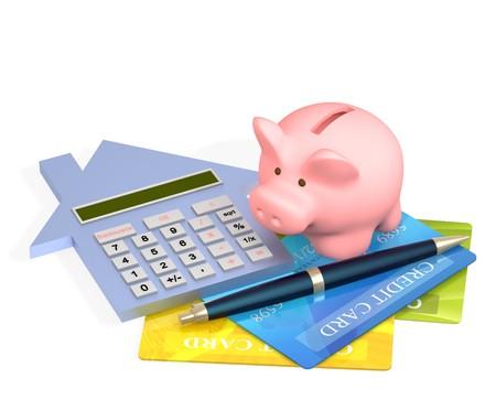 Conceptual image - calculation of the domestic finance photo