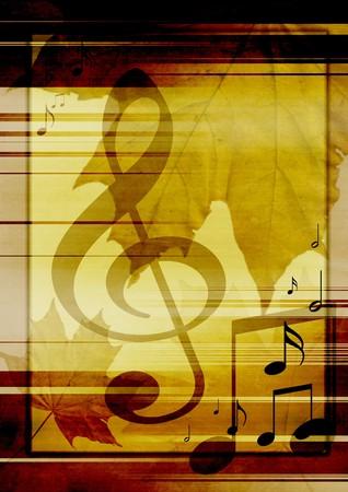 lineas verticales: Antecedentes en retro - estilo, con s�mbolos musicales y las hojas de arce
