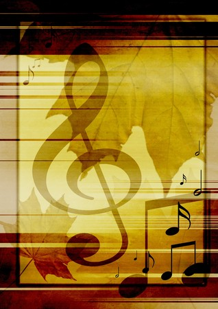 vertical lines: Background in retro - style, with musical symbols and maple leaves Stock Photo