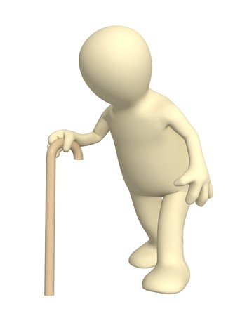 human age: Bent 3d person - puppet, going with a cane