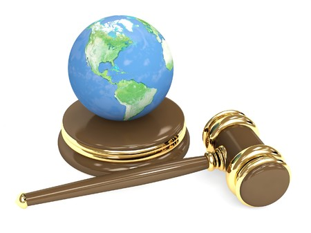 protection of land: Judicial 3d gavel and Earth. Objects over white Stock Photo