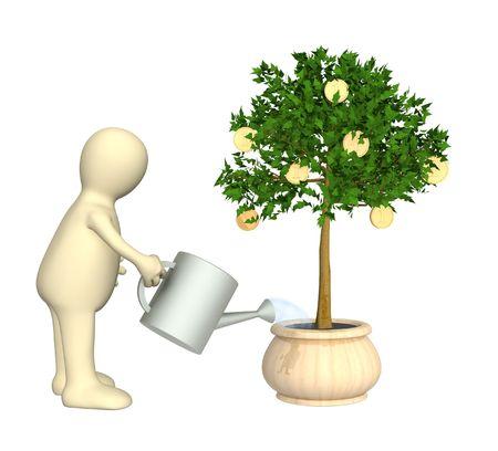 Puppet, watering monetary tree photo