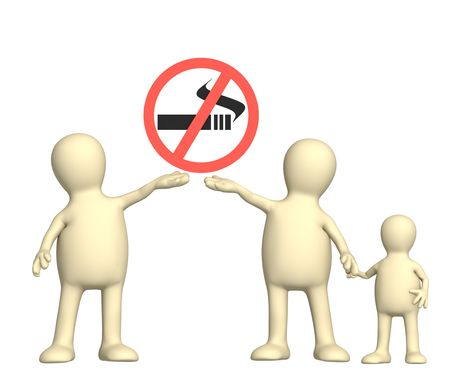 Family, calling to refuse smoking. Object over white photo