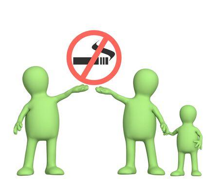 no fumar: Familia, llamando a rechazar el tabaco. Objeto m�s blanco Foto de archivo
