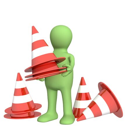 watchful: 3d puppet with emergency cones. Objects over white Stock Photo