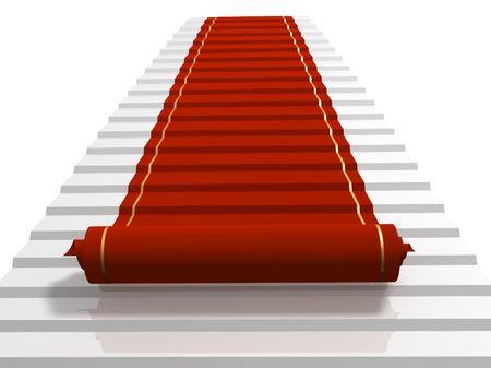 exclusion: Conceptual 3d image - red carpet