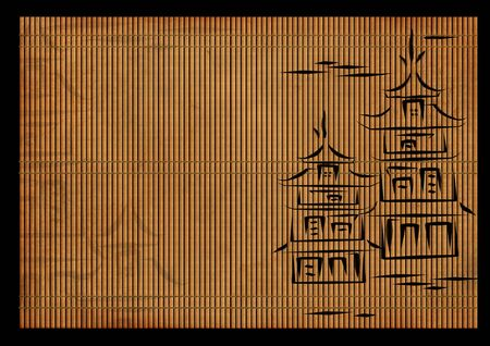 Background - an ancient volumetric Japanese reed mat photo