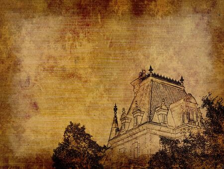 Grunge background with ancient castle Stock Photo - 4589271