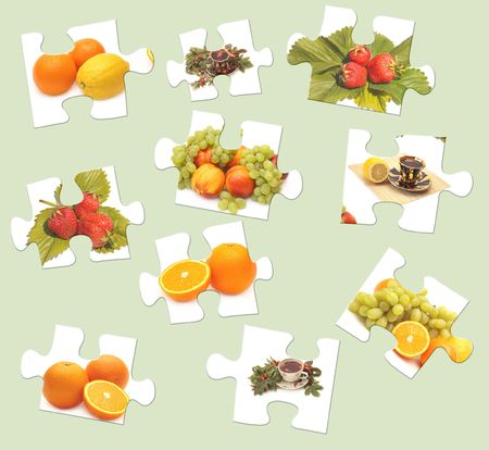 useful: Set - a dietary meal on puzzle parts  Stock Photo