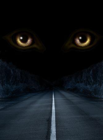 dangerous road: Dark series - horror in night Stock Photo