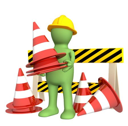 accident de travail: 3d marionnettes avec des c�nes d'urgence. Objets sur blanc Banque d'images