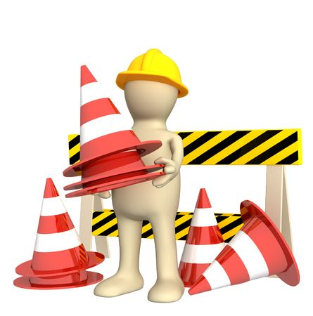 3d puppet with emergency cones. Objects over white photo