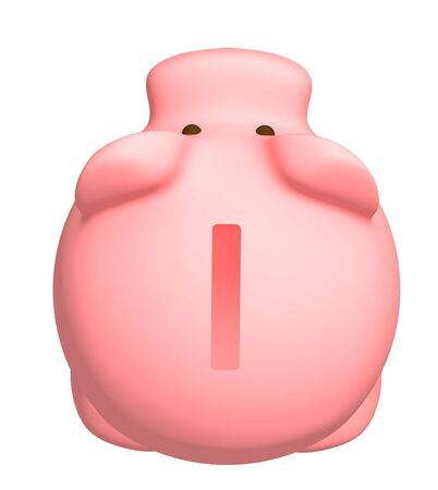 plaything: Piggy bank of pink color. Object over white