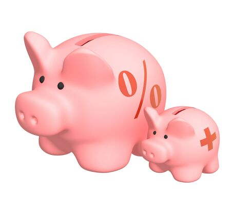 mortgage rates: Two piggy banks of pink color. Object over white Stock Photo