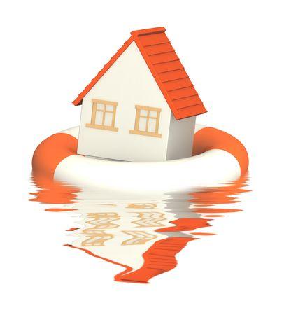 home destruction: Conceptual image - help in a crisis situation