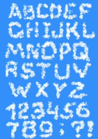 Set - the English alphabet from clouds