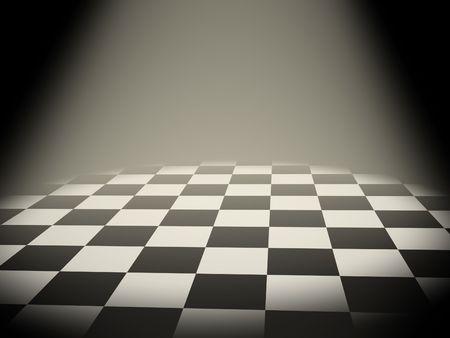 3d chess board: Illuminated empty chess board