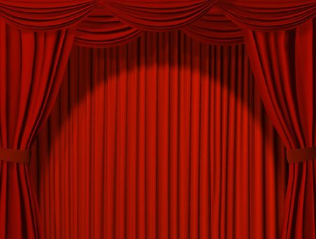 Theatrical curtain of red color photo