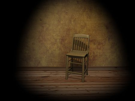 Chair in empty room, illuminated by a projector photo