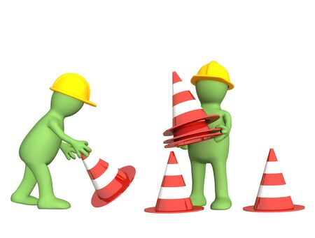 watchful: Two 3d puppets with emergency cones