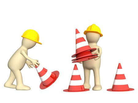 road closed: Two 3d puppets with emergency cones