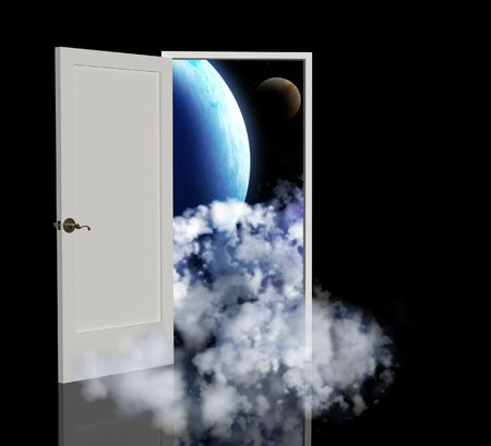 interplanetary: Door open in the other galaxy Stock Photo