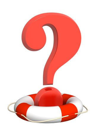adhere: Lifebuoy and red question mark Stock Photo