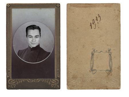 Ancient photo of the young man, in a decorative frame Stock Photo - 4723179