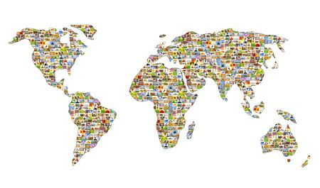 Map of the world from set of photos photo