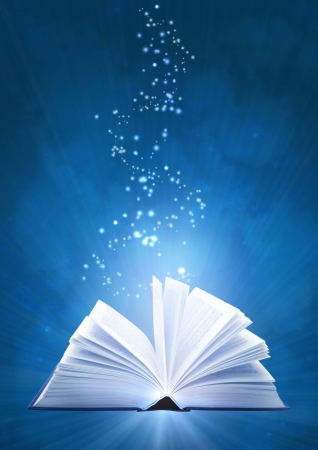 opened: Vertical background of blue color with magic book