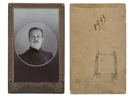 Ancient photo of the elderly man, in a decorative frame photo