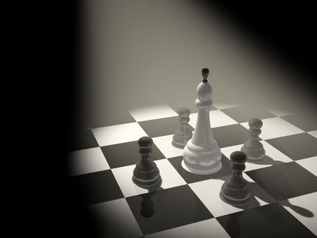 battling: Chess king, surrounded with four pawns