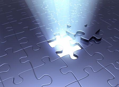 entreprise puzzle: Image conceptuel - une sortie � la magie.  Banque d'images