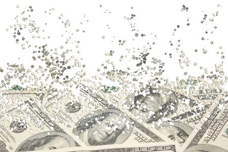 particles: Background from a scattering particles with the image of dollars