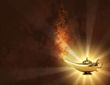 eastern asian: Symbol performance of desires - magic lamp