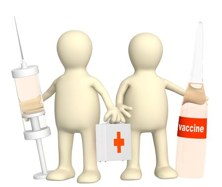 swine flu vaccinations: 3d doctors with a suitcase and a syringe