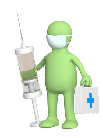 flu vaccination: 3d veterinary with a suitcase and a syringe