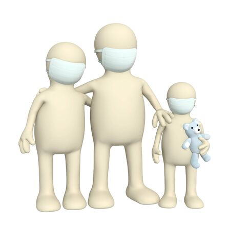 epidemic: 3d family in protective masks