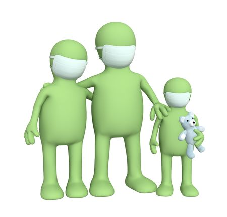 gripe: 3d familia en las m�scaras de protecci�n